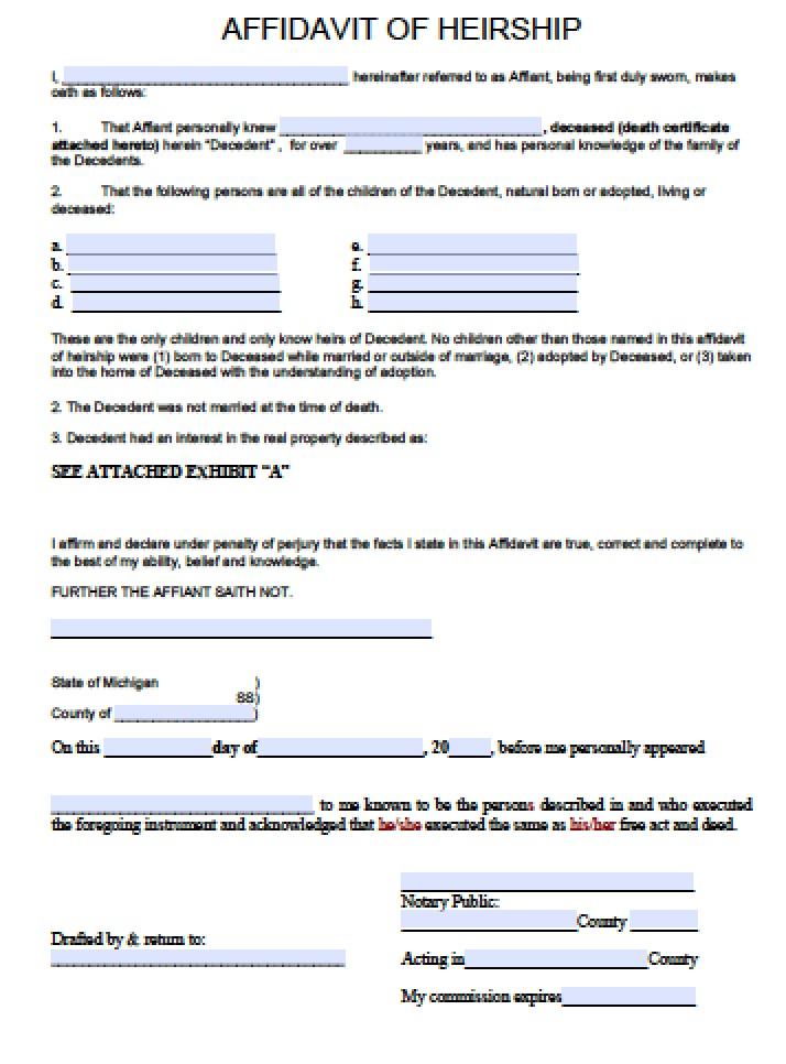 michigan small estate affidavit form - Solidclique27