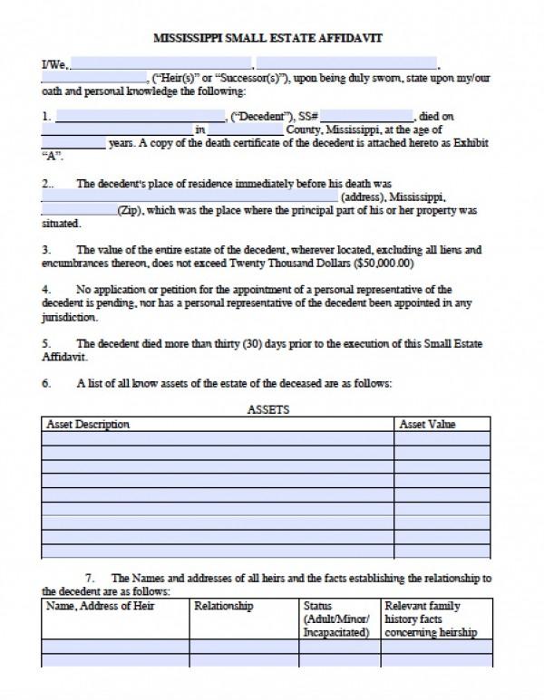 Free Mississippi Small Estate Affidavit Form PDF - Word - affidavit form in pdf