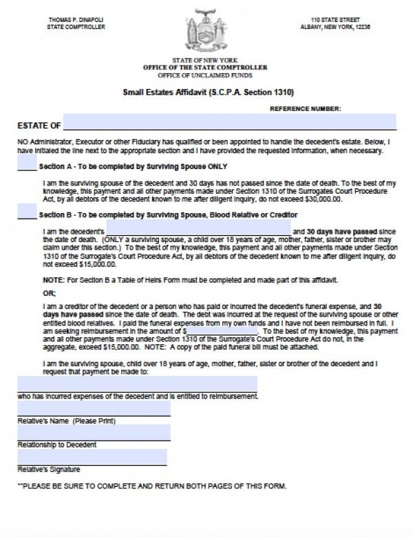 online affidavit form - Deanroutechoice