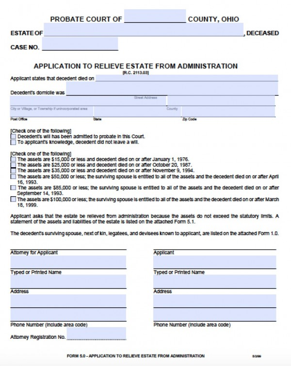 Free Ohio Small Estate Affidavit 50 Form PDF - Word