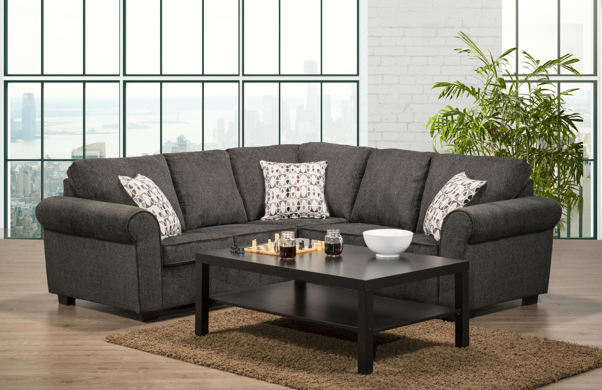 6005 Chenille Charcoal Fabric Sectional Made In Canada Affordable Mattress And Furniture