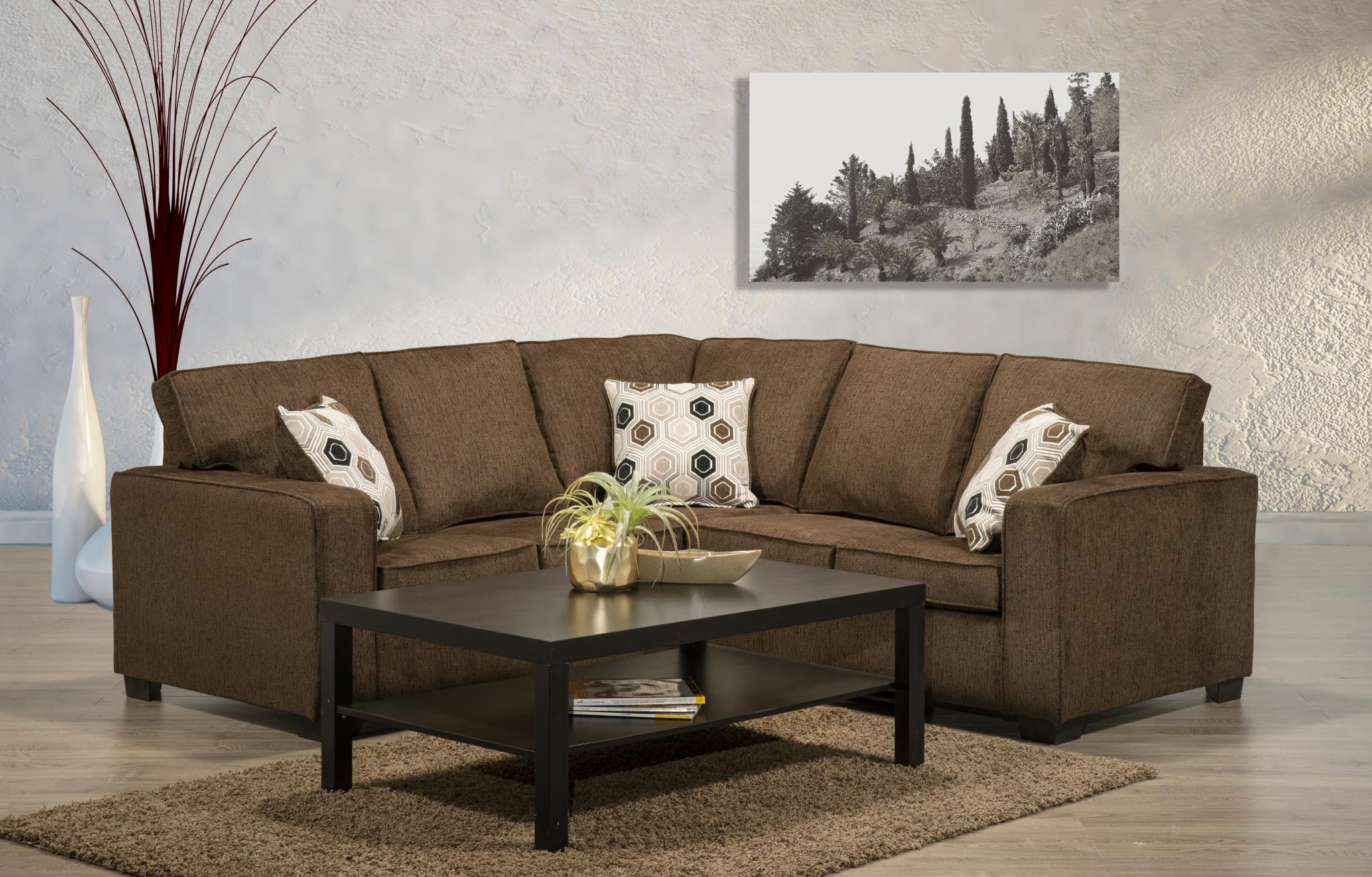 6405 Chenille Brown Fabric Sectional Made In Canada Affordable Mattress And Furniture