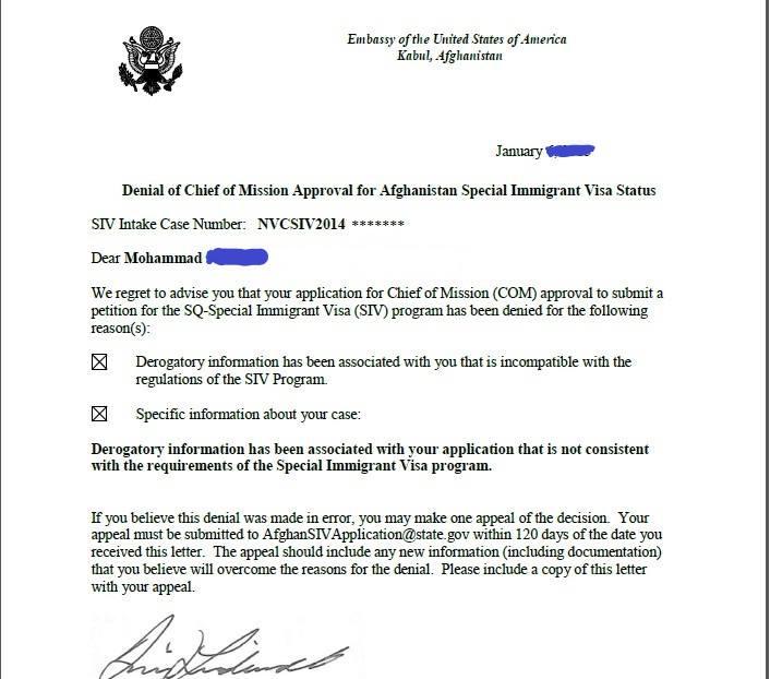 Afghan SIV Appeal Help