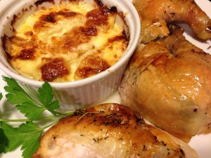 Roast Chicken and Potatoes au Gratin (Photo Credit: Adroit Ideals)