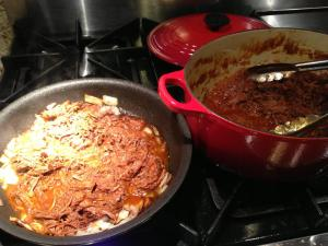 Making Shredded Buffalo Taco Meat (Photo Credit: Adroit Ideals)
