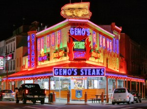 Geno's Steaks serves famous Cheese Steak Sandwiches in Philadelphia, PA (Photo Credit: Wikipedia.org)