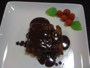 Chocolate Chip Brownies with Chocolate Sauce (Photo Credit: Adroit Ideals)