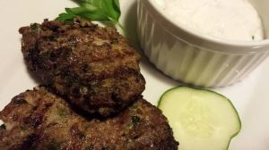 Grilled Lamb Meatball Patties with Greek yogurt dipping sauce (Photo Credit: Adroit Ideals)