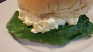 Easy Egg Salad Sandwich on a Potato Roll with Lettuce (Photo Credit: Adroit Ideals)