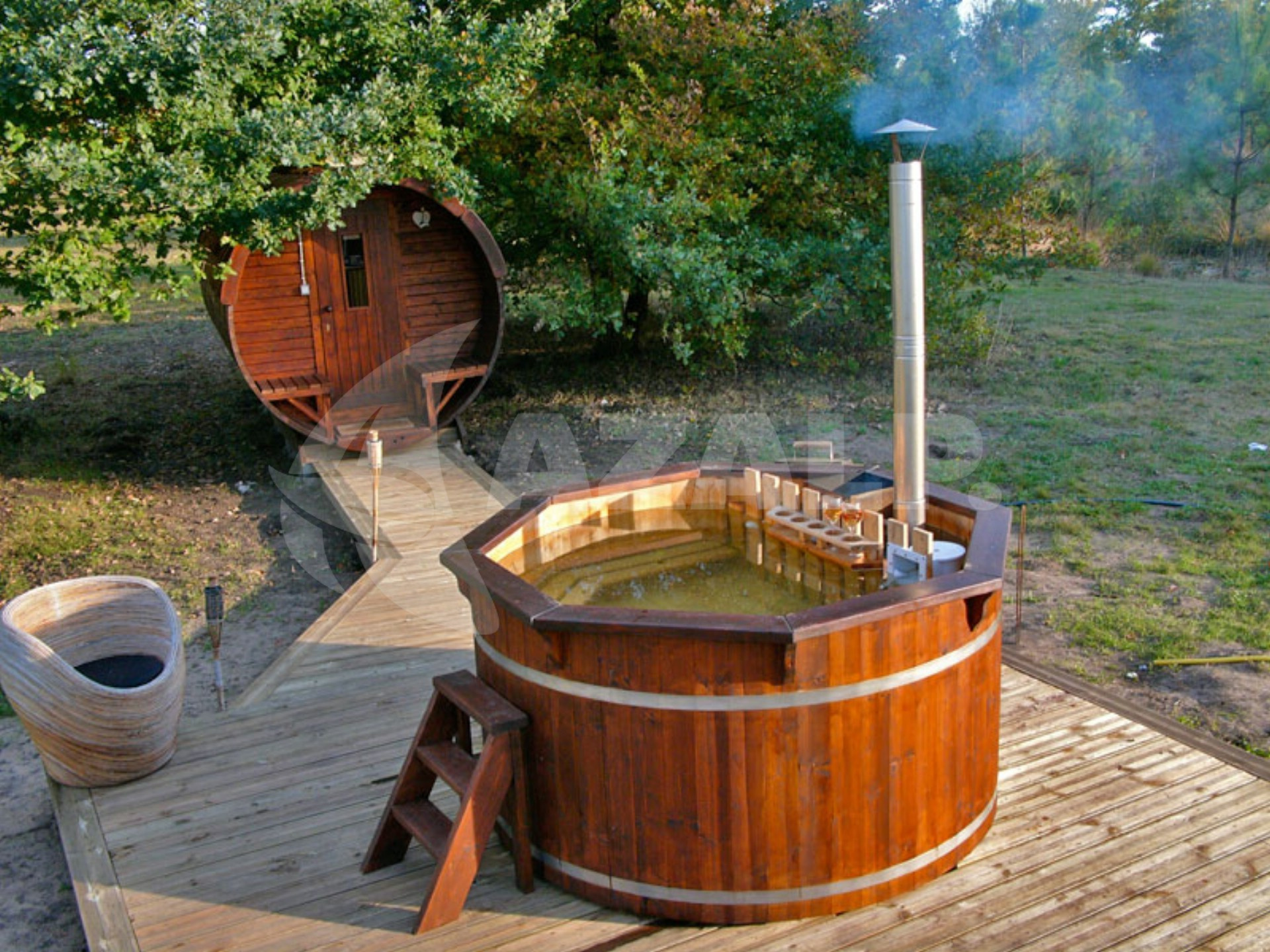 Hottub In De Tuin Interflex Hottub Thermowood Diameter 190cm