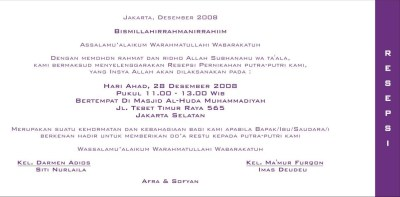 Ansofy Wedding Invitation Resepsi