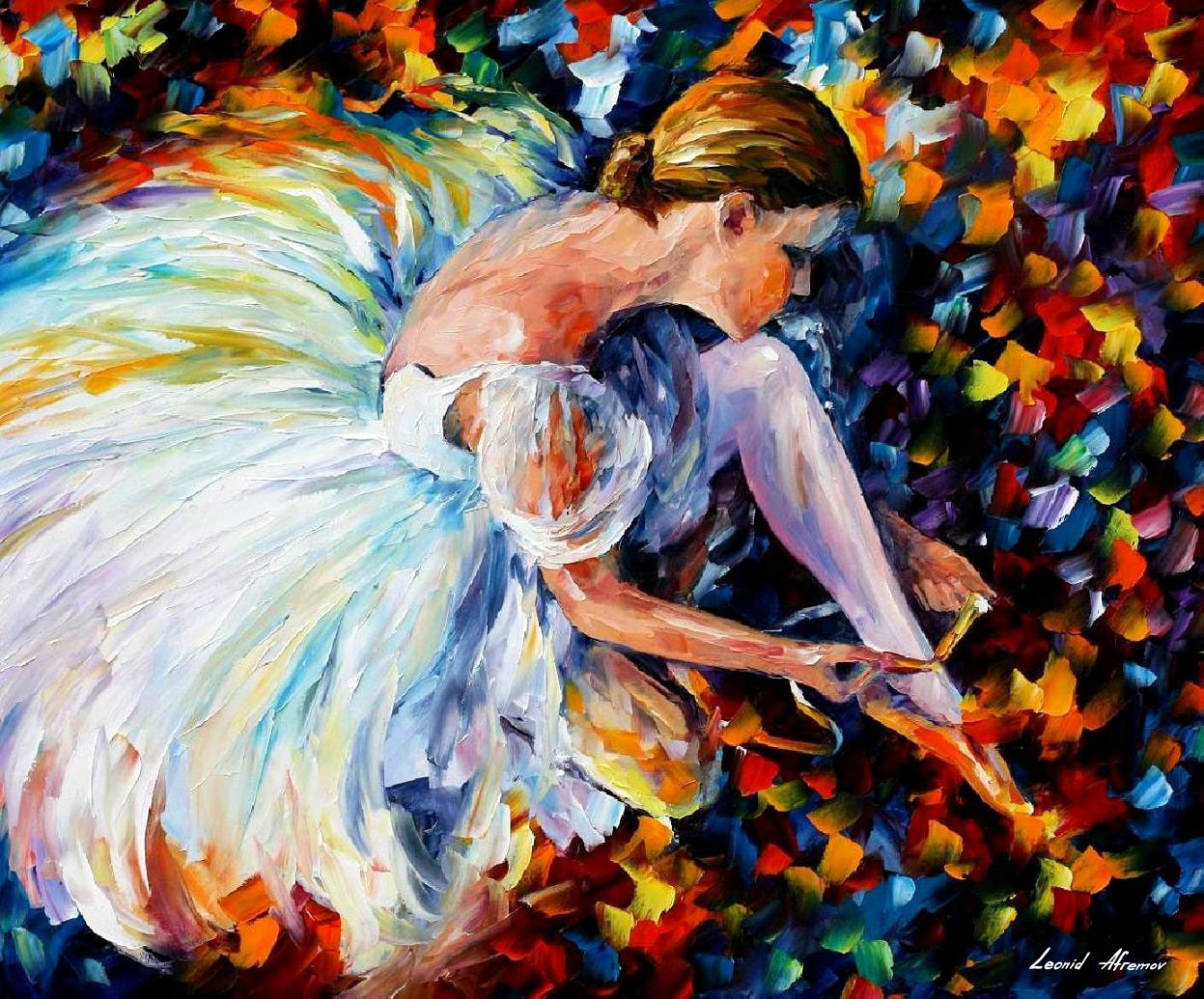 Cuadros Al Oleo De Bailarinas Ballerina Palette Knife Oil Painting On Canvas By Leonid