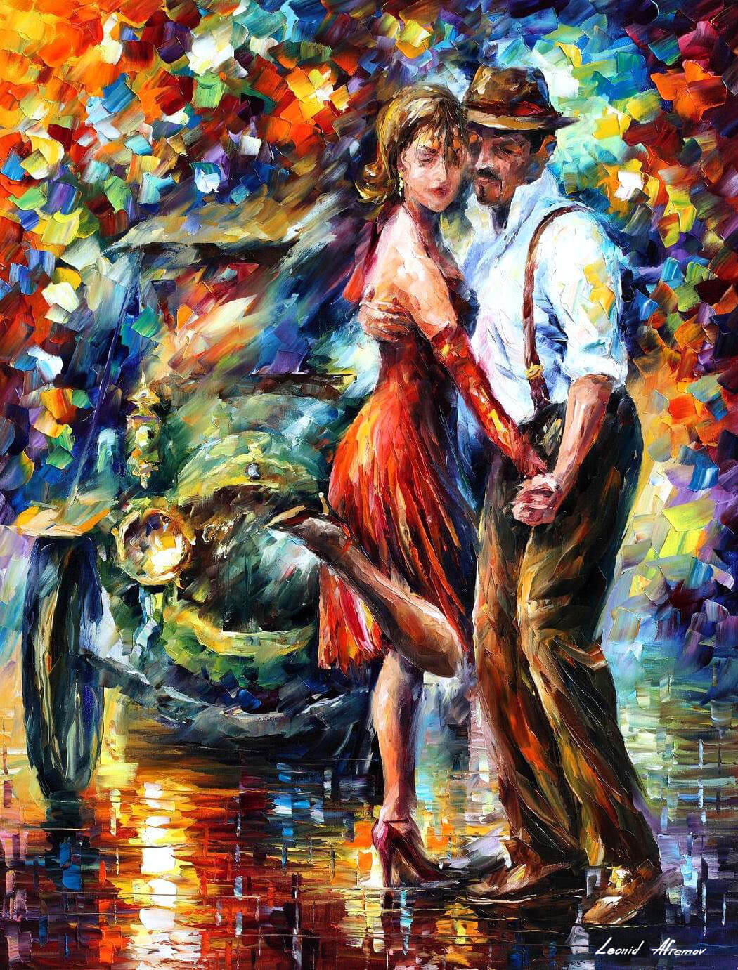 Pinturas Taurinas Modernas Beautiful Tango Palette Knife Oil Painting On Canvas By