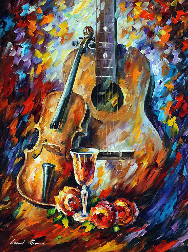 Cuadros De Violines Guitar And Violin — Palette Knife Oil Painting On Canvas