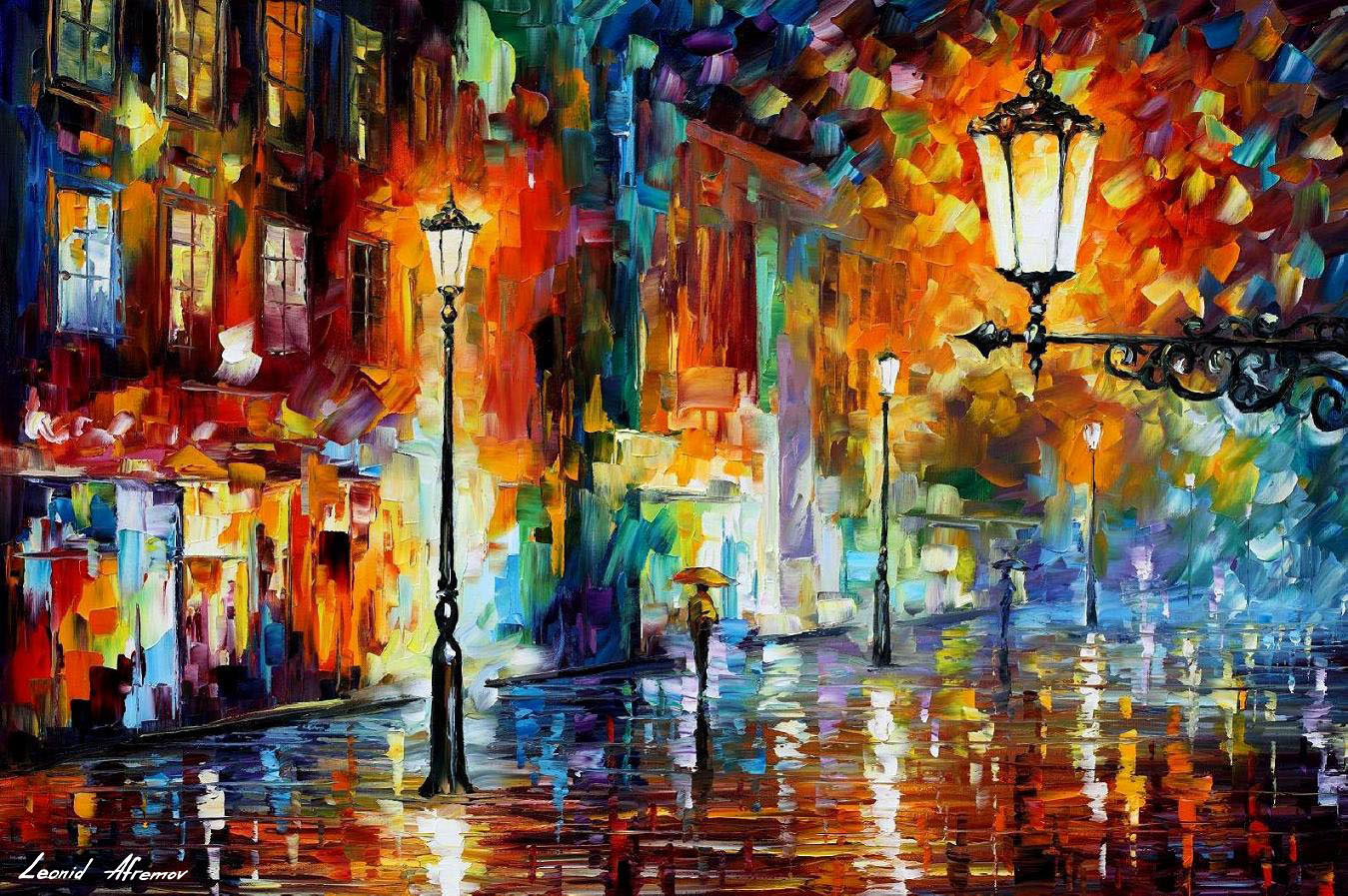 Street Light At Night Painting Night Lights Palette Knife Oil Painting On Canvas By
