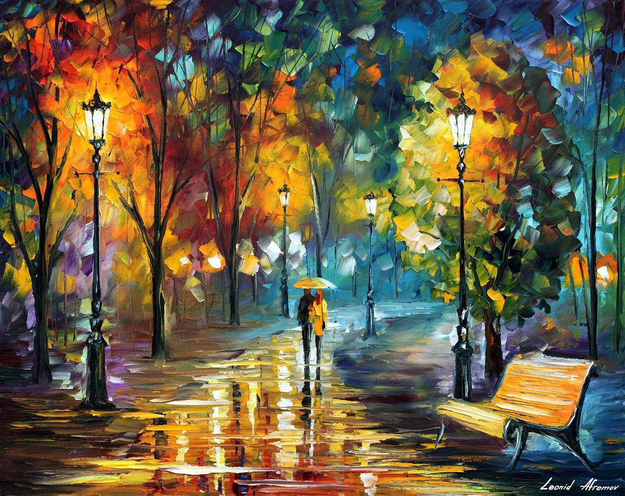 Kunststroming Romantiek Soul Of The Rain 2 — Palette Knife Oil Painting On Canvas
