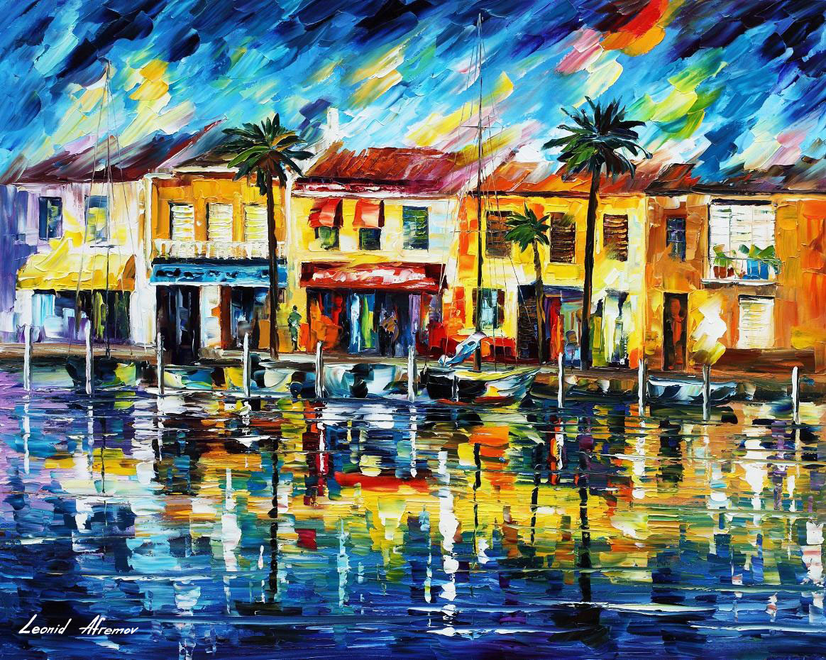 Tropical Artwork Tropical Night Palette Knife Oil Painting On Canvas By