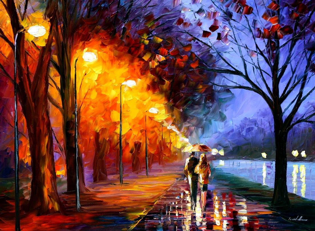Modern Art Painting Alley By The Lake Palette Knife Oil Painting On Canvas By Leonid Afremov