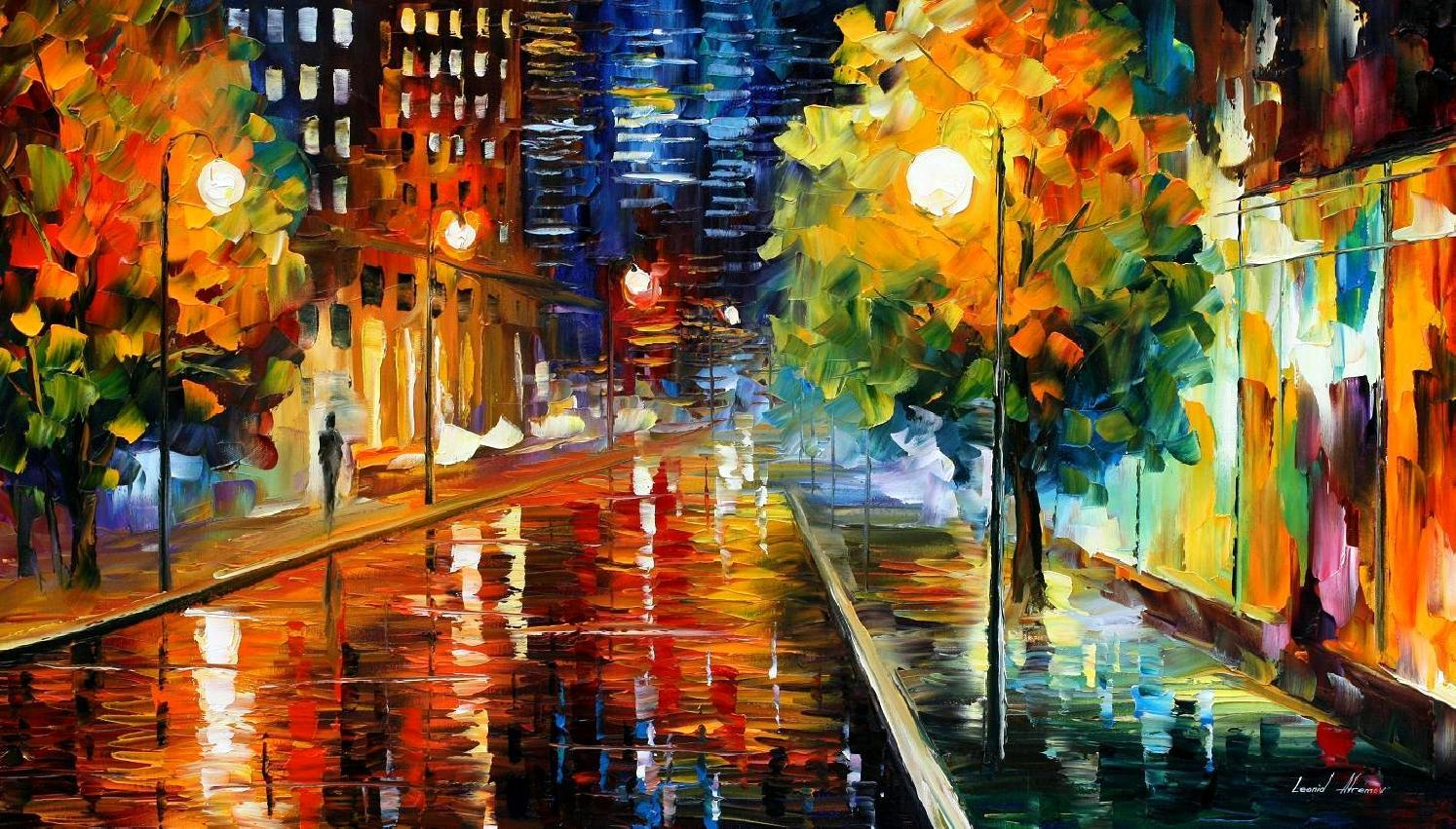 Rainy Fall Day Wallpaper Downtown Street Palette Knife Oil Painting On Canvas By