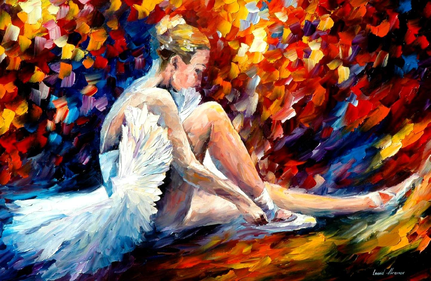 Pinturas De Bailarinas Young Ballerina Palette Knife Oil Painting On Canvas By Leonid Afremov