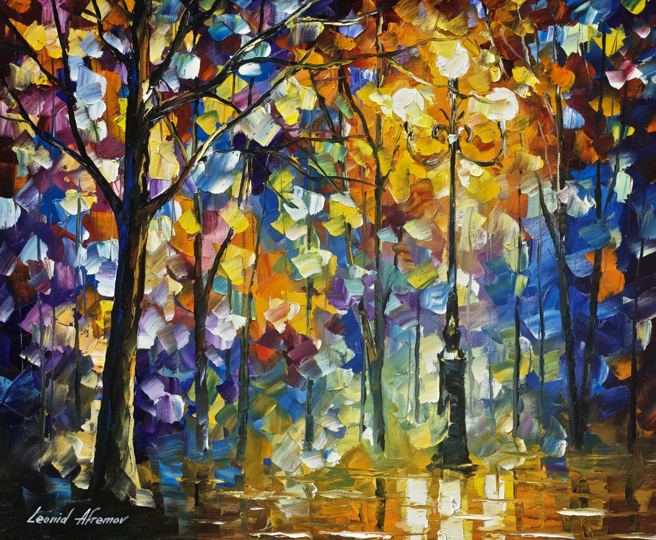 Afremov Pinturas 1 Hour Video Lesson Of Leonid Afremov Painting A Night Landscape In Download Form The Light Of Magic