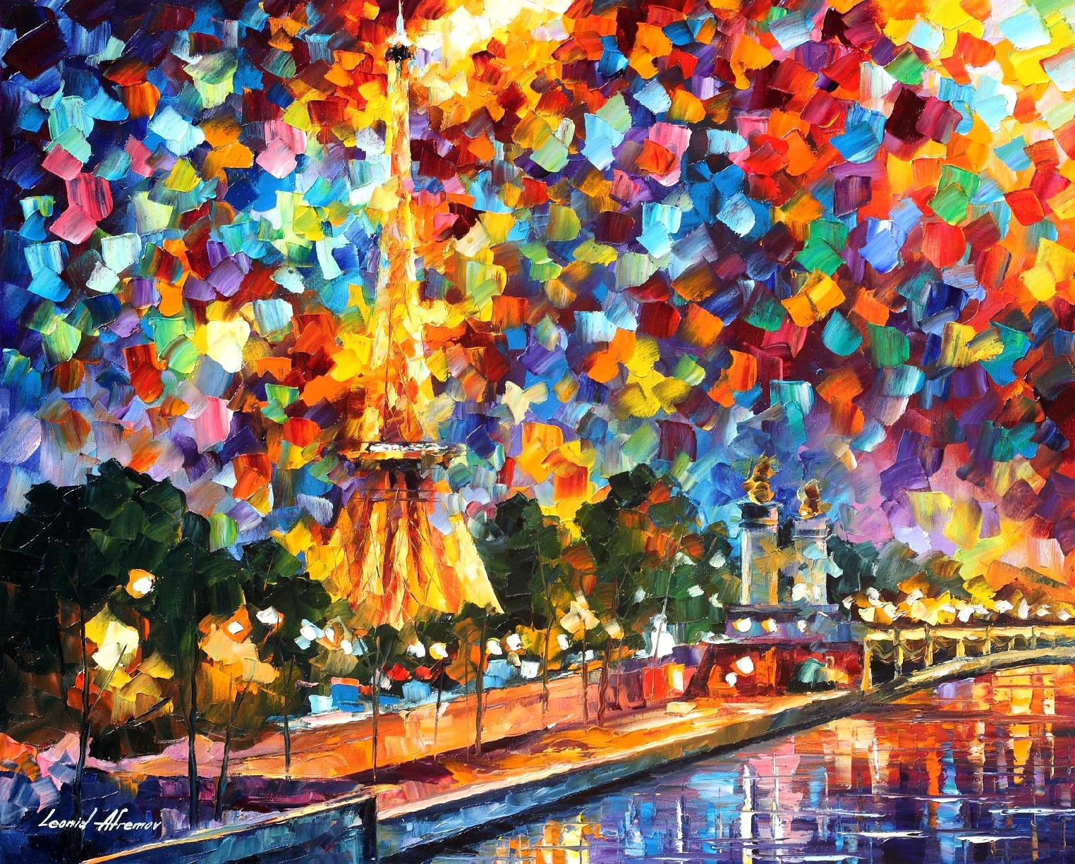Fotos De Pinturas Night In Paris Palette Knife Oil Painting On Canvas By