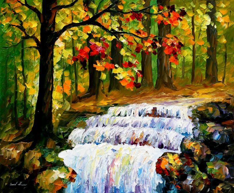 Fall Leaves Watercolor Wallpaper Spring Stream Palette Knife Oil Painting On Canvas By