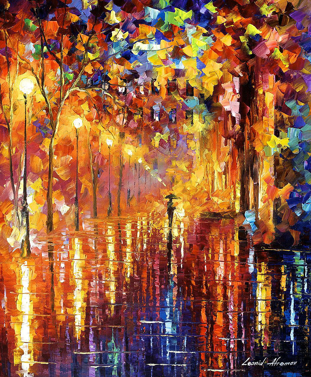 Lonely Girl Walking In Rain Wallpaper Dreaming Rain Palette Knife Oil Painting On Canvas By