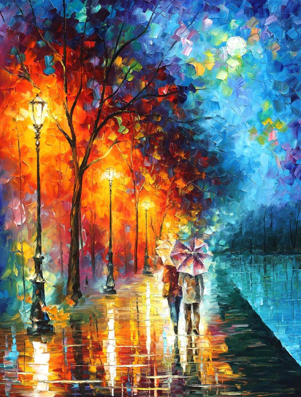 Cuadros De Acuarelas Famosos Love By The Lake Palette Knife Oil Painting On Canvas By