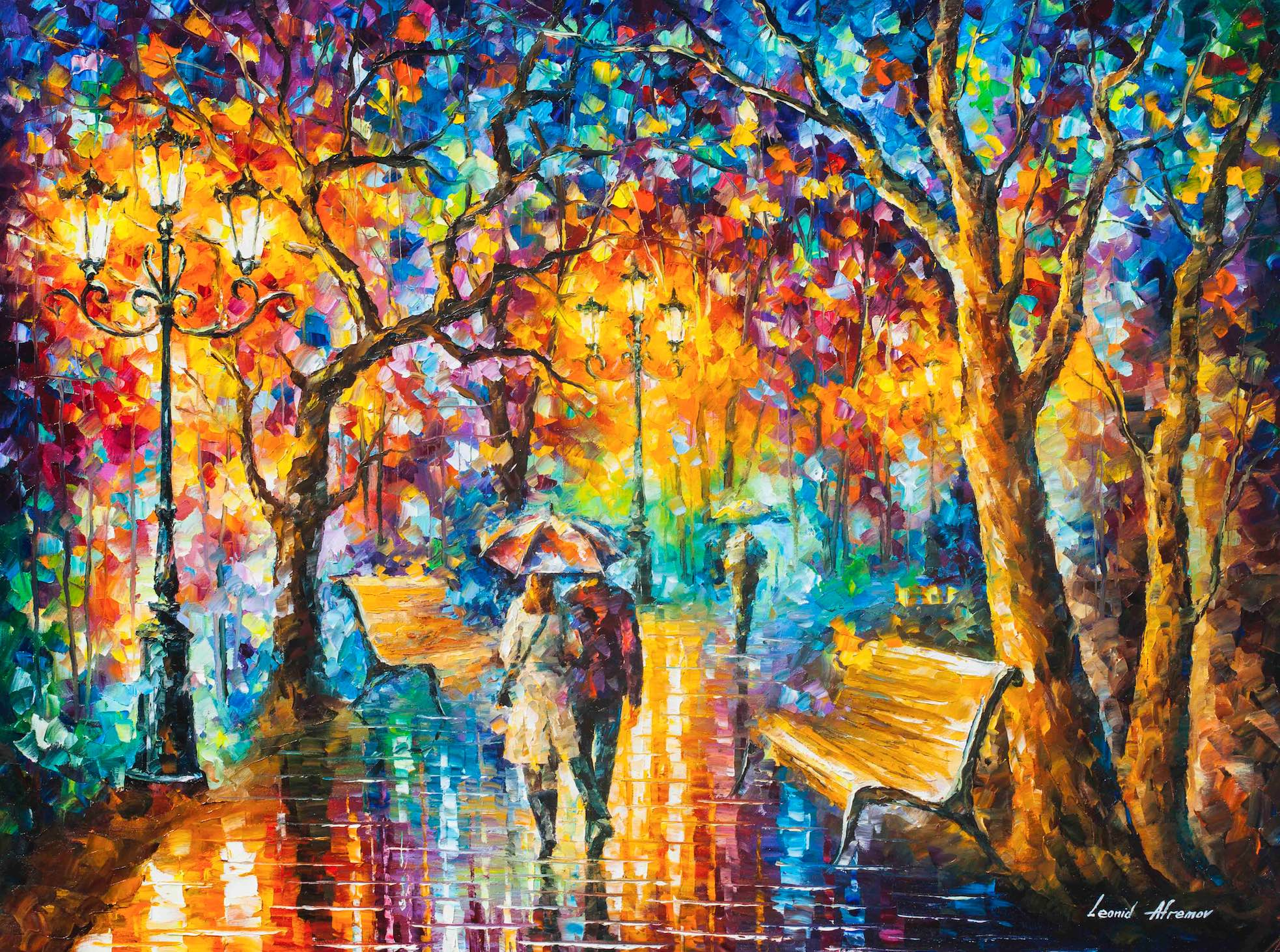 Painting S Rain Vs Love Palette Knife Oil Painting On Canvas By
