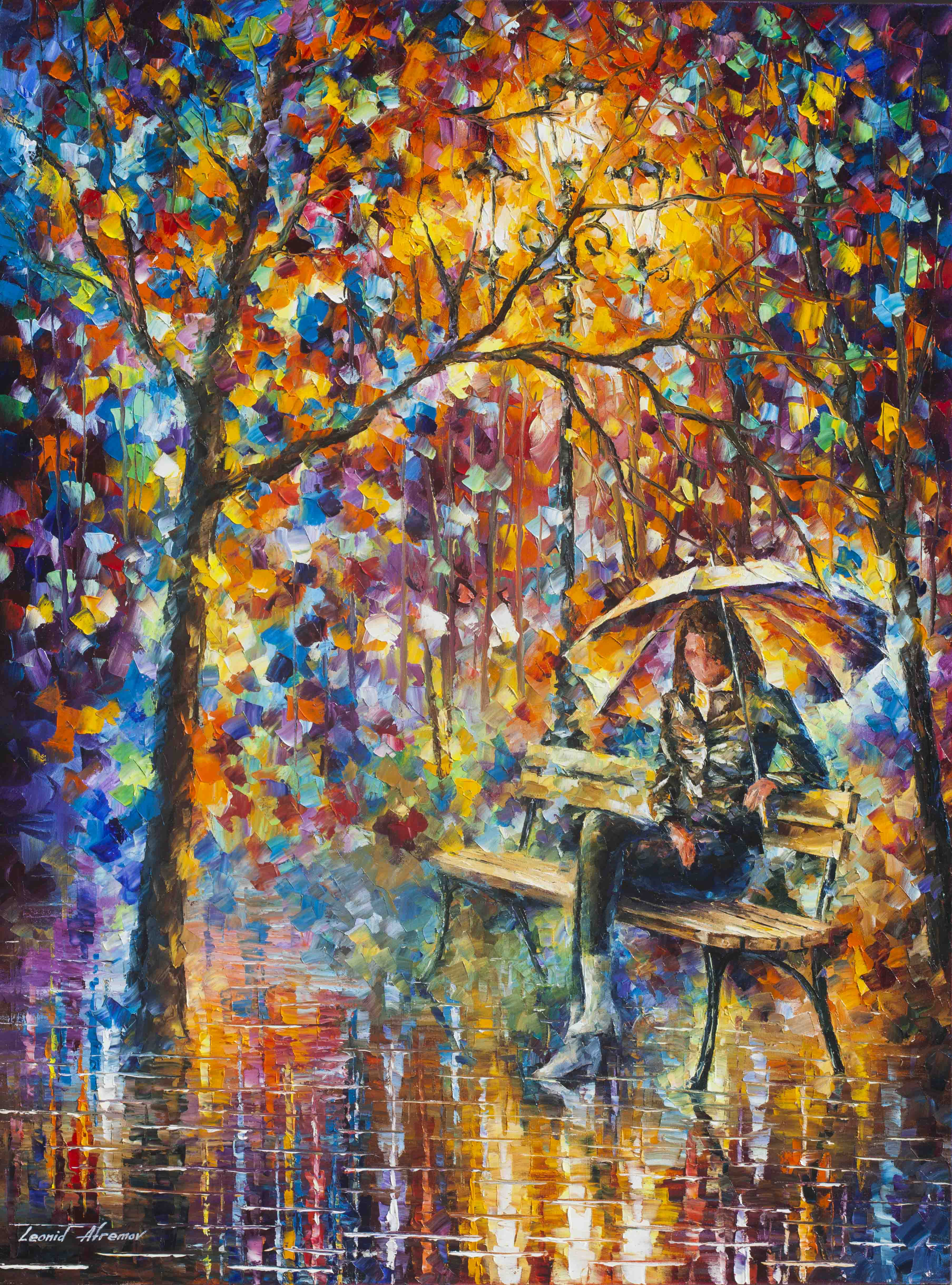 Painting S Waiting In The Rain Palette Knife Oil Painting On Canvas