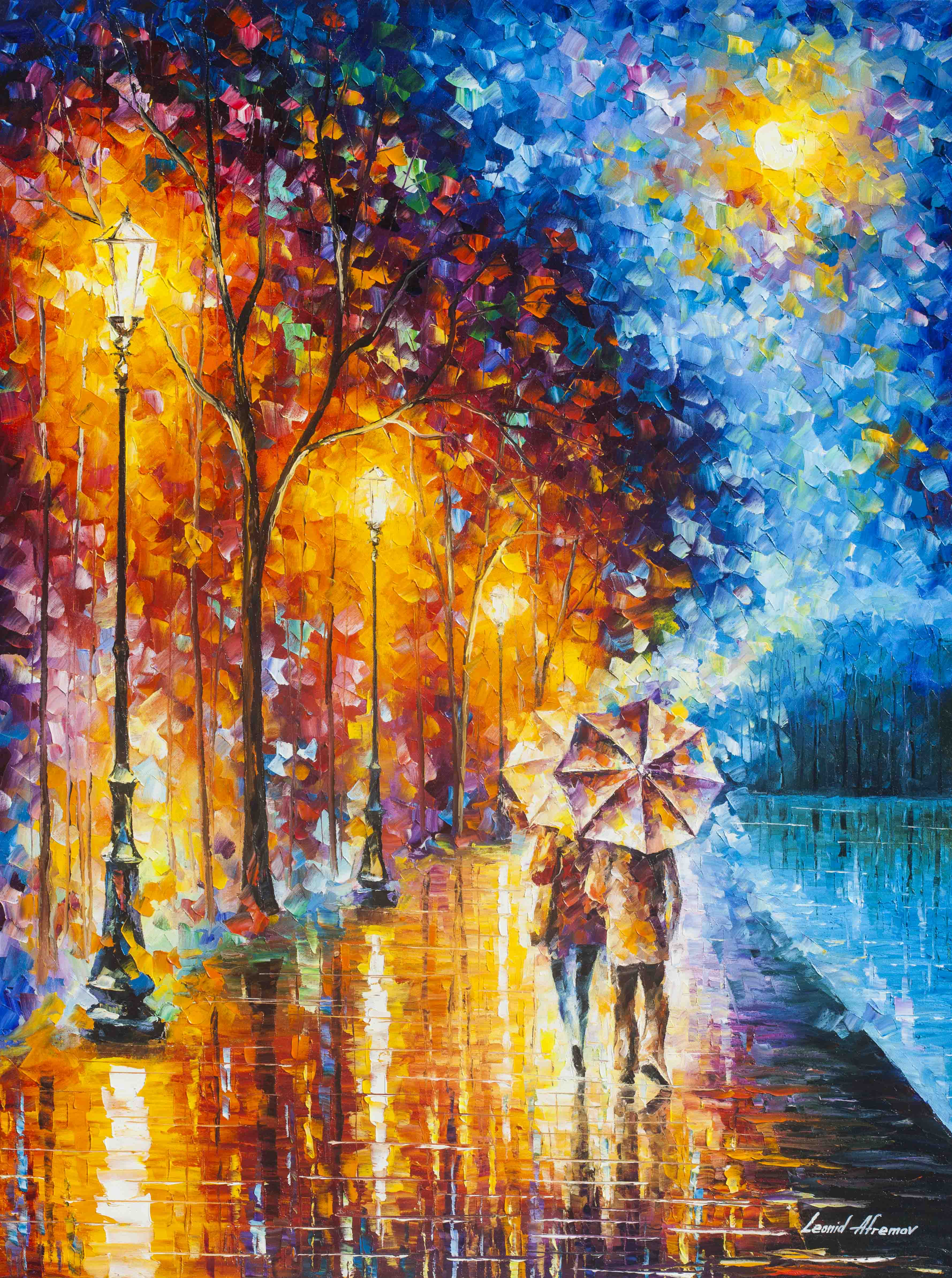 Painting S Love By The Lake 2 Palette Knife Oil Painting On Canvas