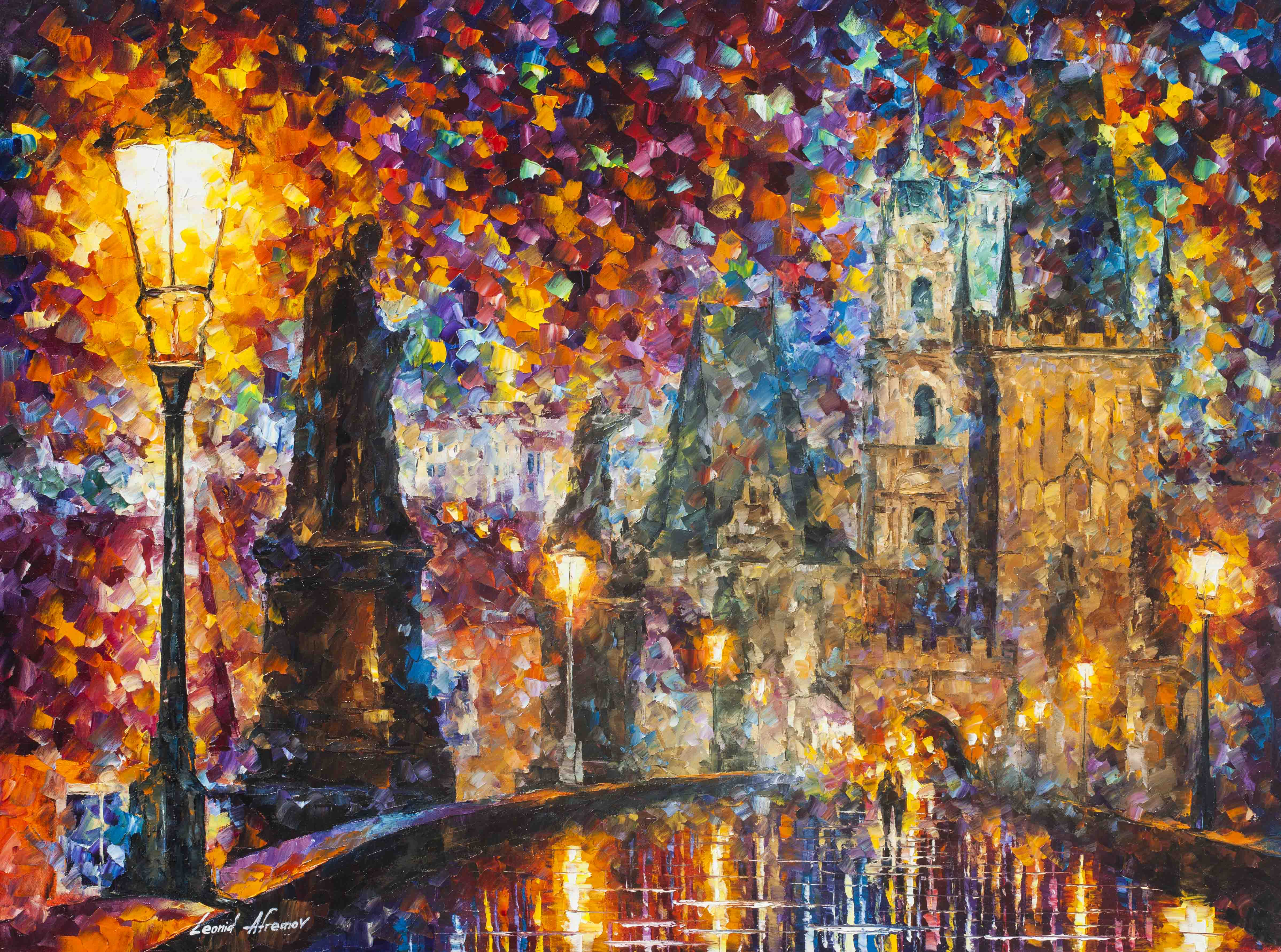 How To Painting Art Prague Night Magic Palette Knife Oil Painting On