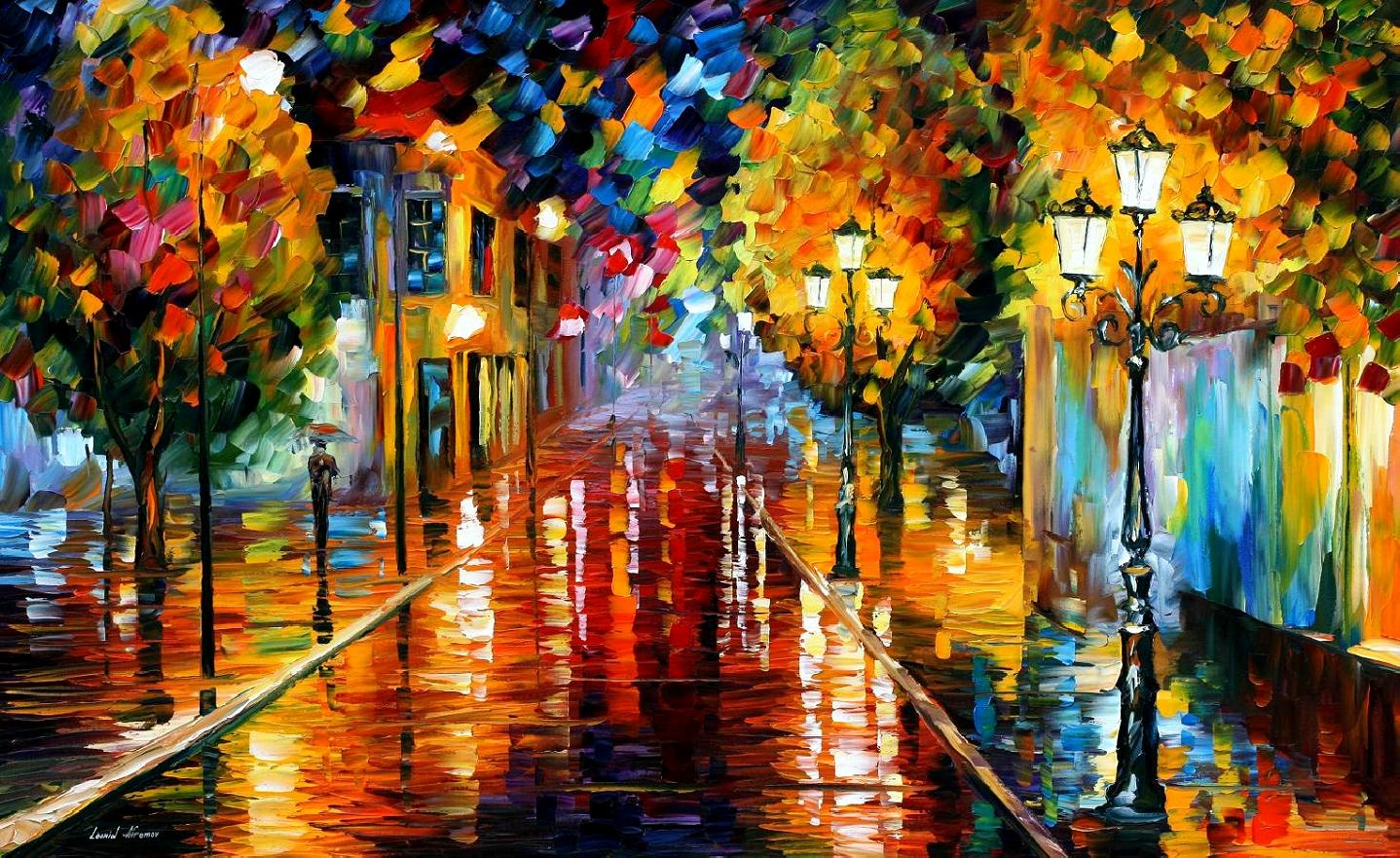 Bild Modern Art Improvisation Of Lights Palette Knife Oil Painting On