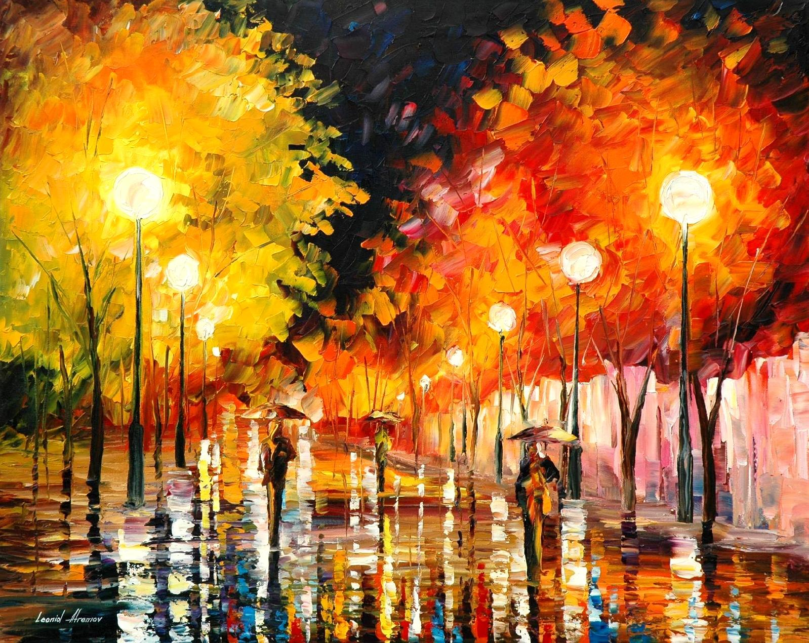 Quadri Con Pallet Rainy Night Palette Knife Oil Painting On Canvas By