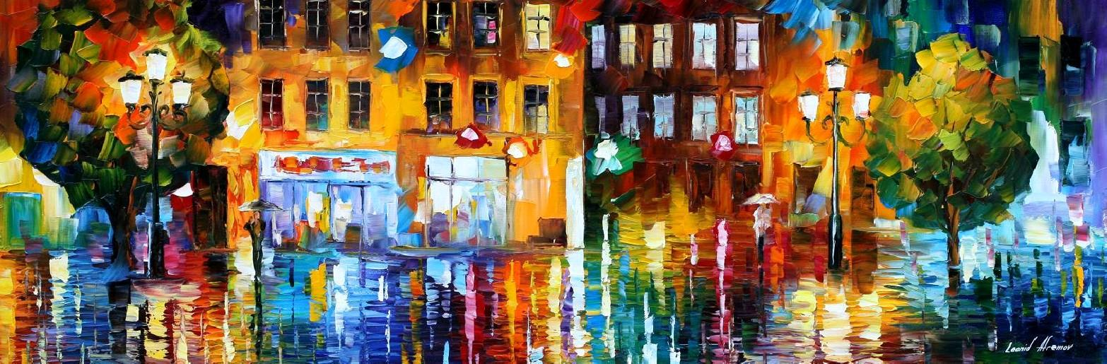 The City Of Rain Palette Knife Oil Painting On Canvas By Leonid Afremov Size 40