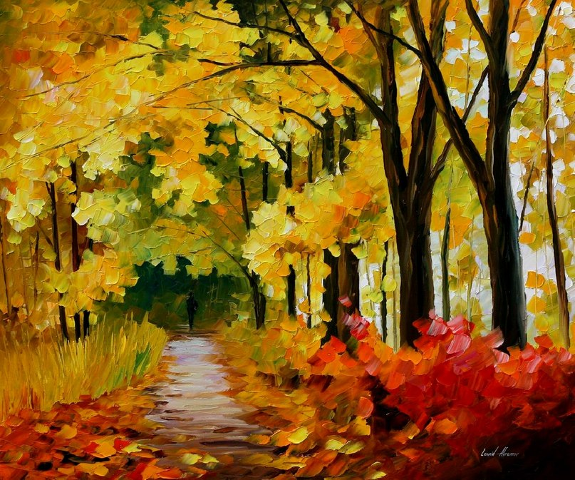 Cuadros Art Deco Fall Park — Palette Knife Oil Painting On Canvas By Leonid