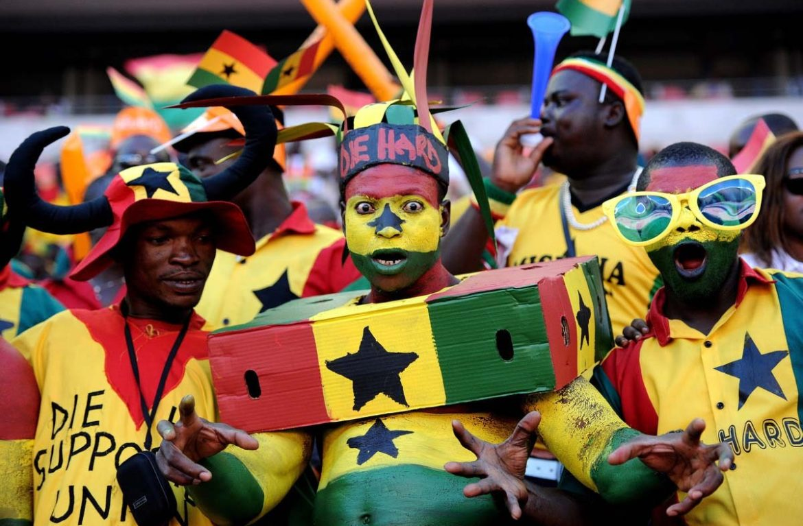 Ghana's supporters cheer prior the 2013 Africa Cup of Nations football match between Ghana and Mali at Nelson Mandela Bay Stadium in Port Elizabeth. (Stephane De Sakutin/Getty Images)