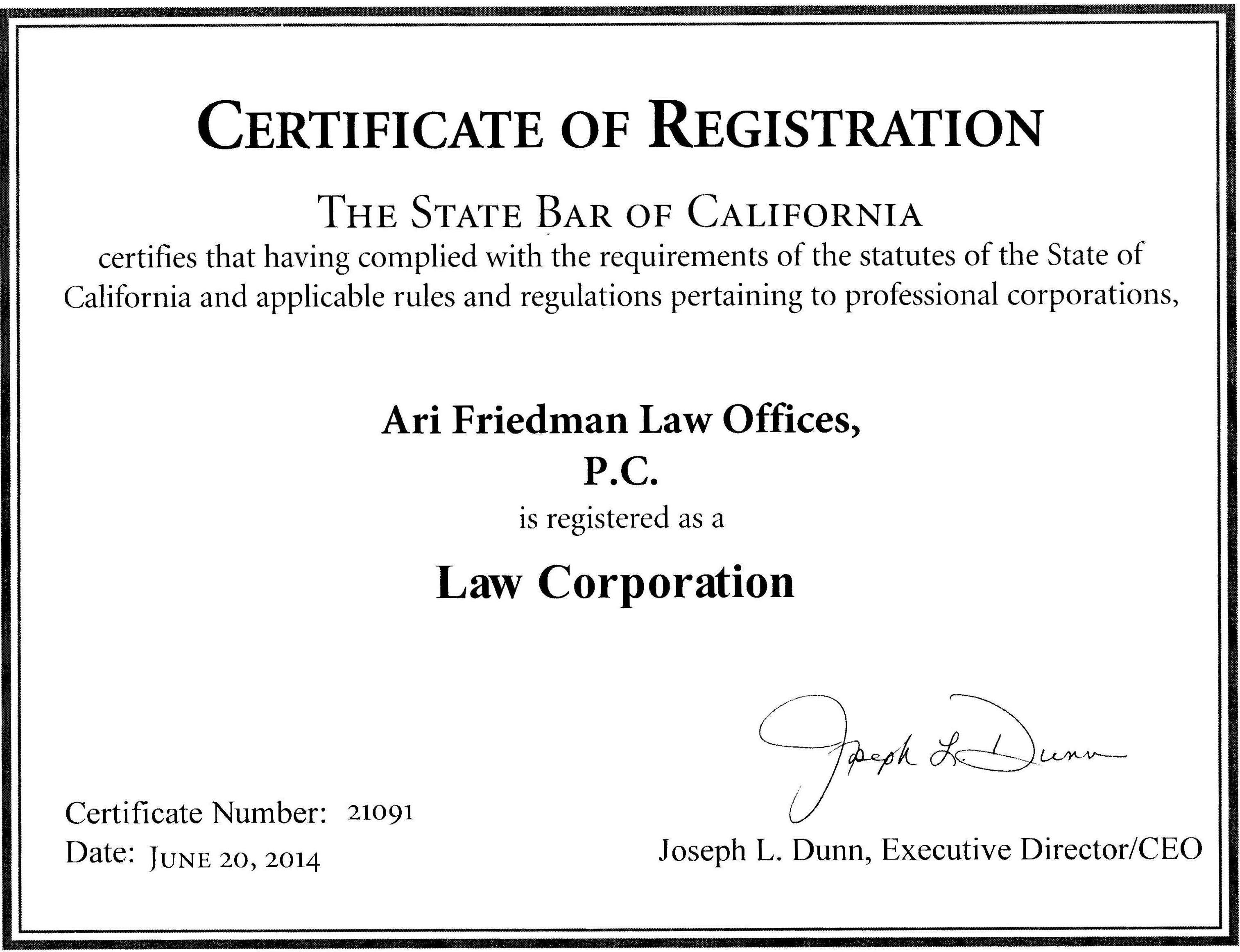 California State Bar Friedman Law Offices Now Accredited By The Better Business Bureau