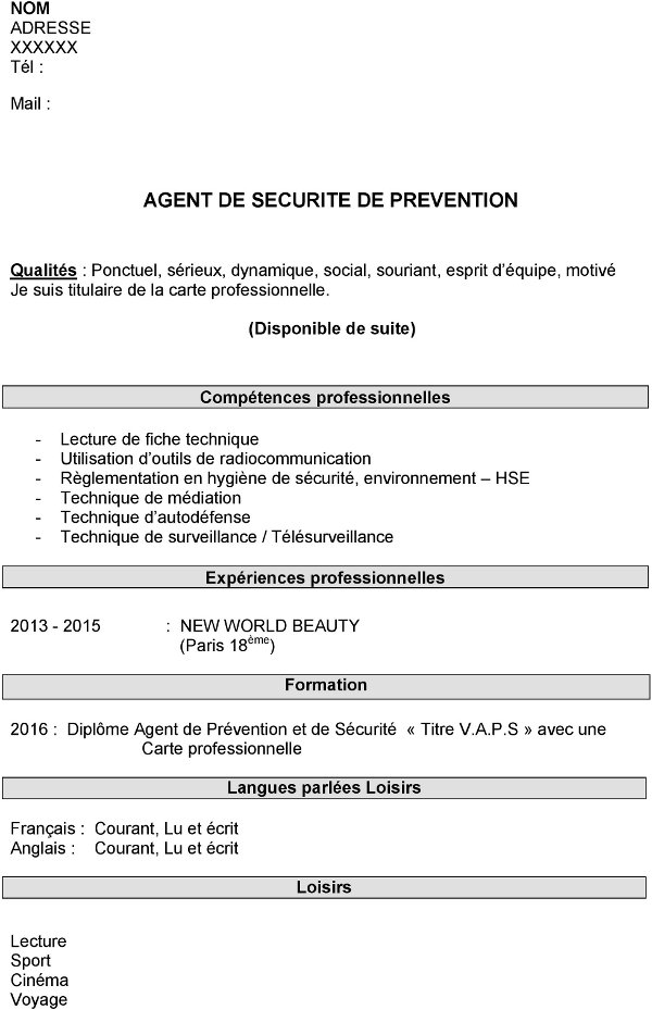 cv demande de stage exemple