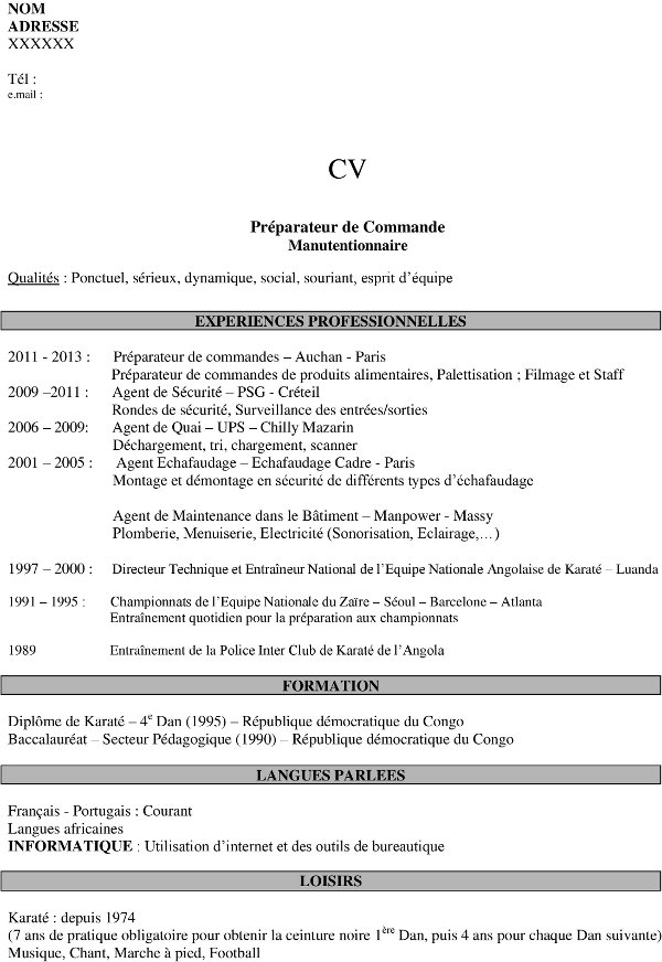 une lettre de motivation cv