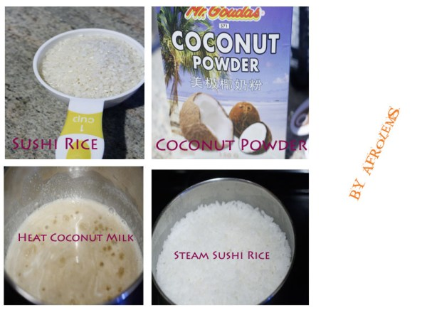 making coconut sticky rice