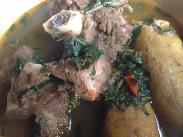 goat meat pepper soup with plantain
