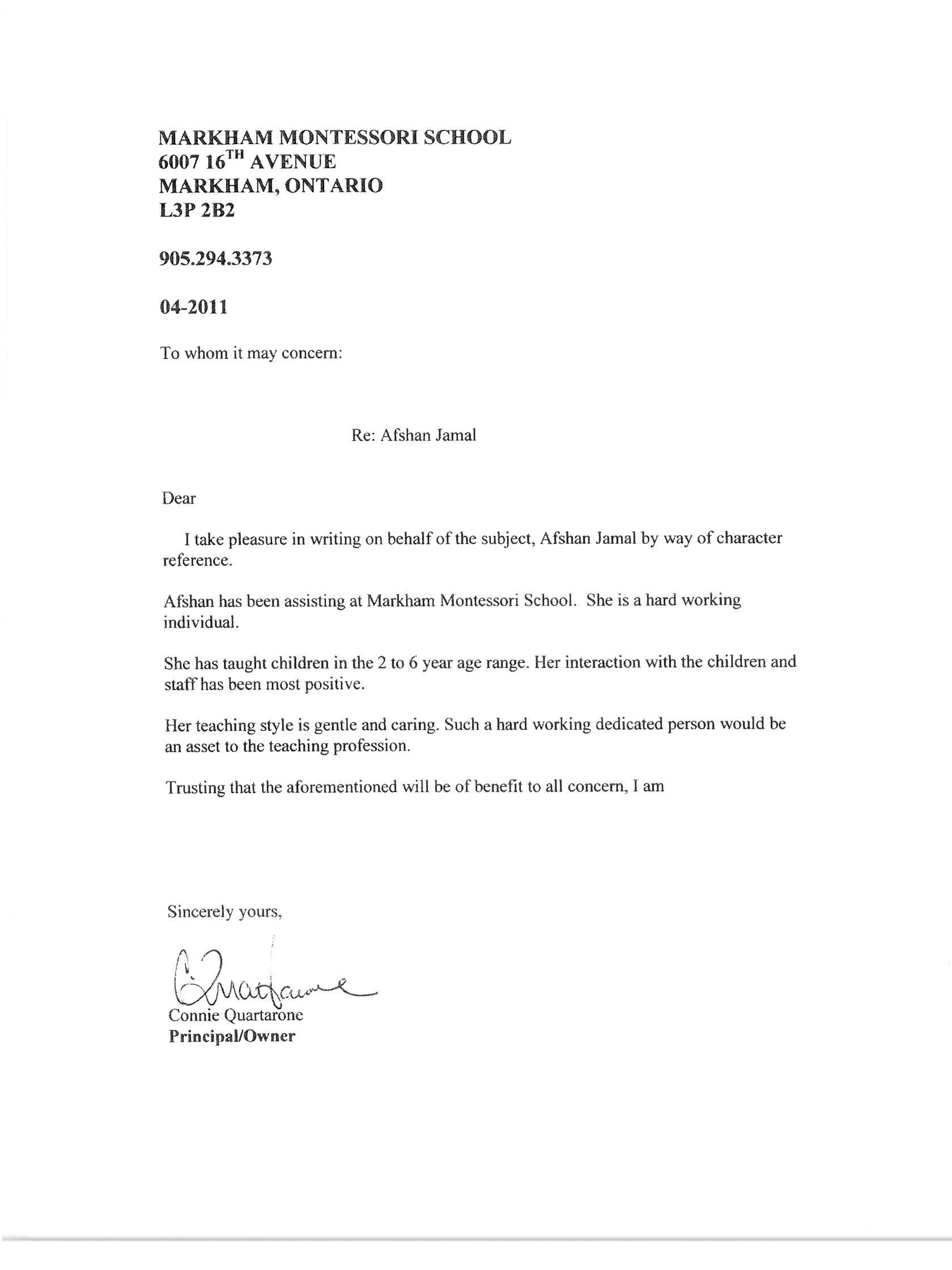 Cover letter montessori teacher