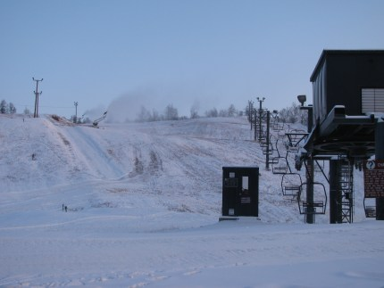 A view from the bottom of Hillberg prior to opening day on the slopes.