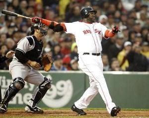 AP Photo// Red Sox slugger David Ortiz follows the flight of a springtime home run against the New York Yankees.