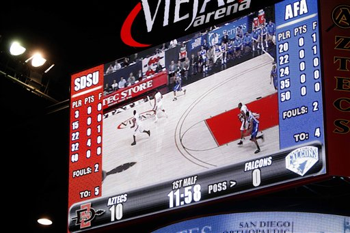 The scoreboard at the Viejas Arena at San Diego State shows zero points for Air Force after more than eight minutes of the first half Tuesday in San Diego. Air Force finally scored with 10:14 to play in the half.  (AP Photo/Lenny Ignelzi)