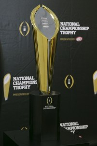 The College Football Playoff trophy, unveiled Monday at a news conference in Irving, Texas. (USA Today Sports photo by Kevin Jairaj)