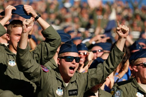 Air Force cadets cheer as the clock runs out on their 30-21 victory over the US Naval Academy Midshipmen 30-21 at the US Air Force Academy in Colorado Springs, Colorado, on Saturday, October 4, 2014. (Mike Morones/Staff)