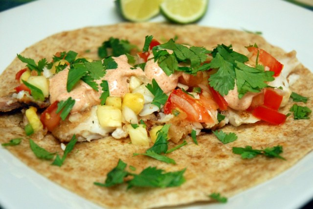 Tropical Fish Tacos with Pineapple Salsa and Lime Yogurt Sauce |